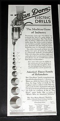 1924 OLD MAGAZINE PRINT AD, VAN DORN PORTABLE ELECTRIC TOOLS, THE MACHINE GUNS!