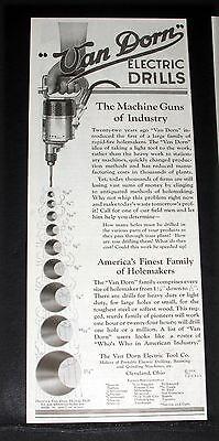 1924 OLD MAGAZINE PRINT AD, VAN DORN PORTABLE ELECTRIC TOOLS, THE MACHINE GUNS!