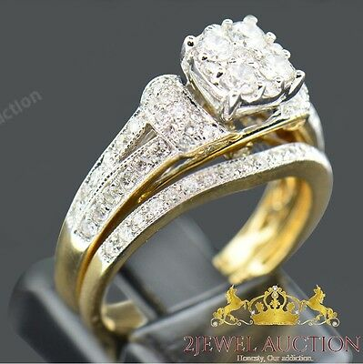 Diamond Engagement Ring Set Wedding Bridal Band 14k Yellow Gold Round Cut