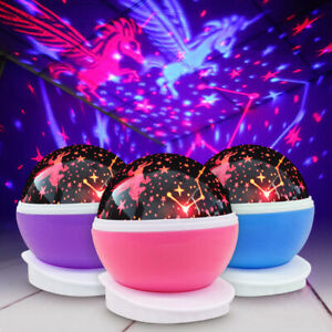 Details About Kids Unicorn Led Night Lights Projector Star Rotating Starry Lamp For Baby Gifts