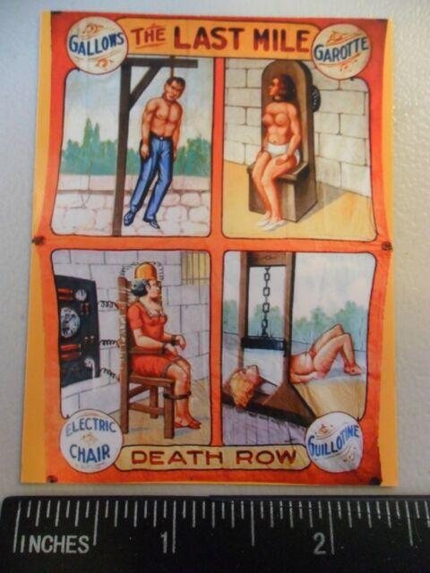"3.25"" DEATH ROW Circus sideshow STICKER /DECAL. Vintage Freak show Banner."