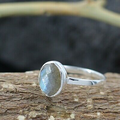 Sterling silver 925 Ring Labradorite  Ring sterling silver oval stone ring