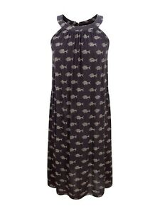 Ex-Fat-Face-Charcoal-Batik-Fish-Print-Cotton-Tie-Neck-Summer-Dress-6-18