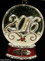 2016 Dated Sparkling Silver Snow Globe Ornamenteuropean Crystalsmetalnib