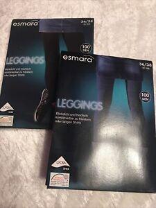 Hospitable Esmara 2 Leggings 36/38 100 Denier Black And Blue-show Original Title