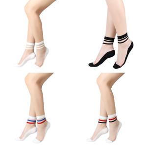 2PC Hip Hop Funny Hosiery Silk Stockings Transparent Glass Crystal Stretch Socks