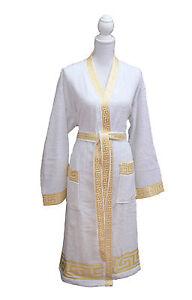 100% De Qualité 3 Pcs Méandres-set Kimono Peignoir + Badehandtücher Méduse Gold-blanc Versac Vous Garder En Forme Tout Le Temps