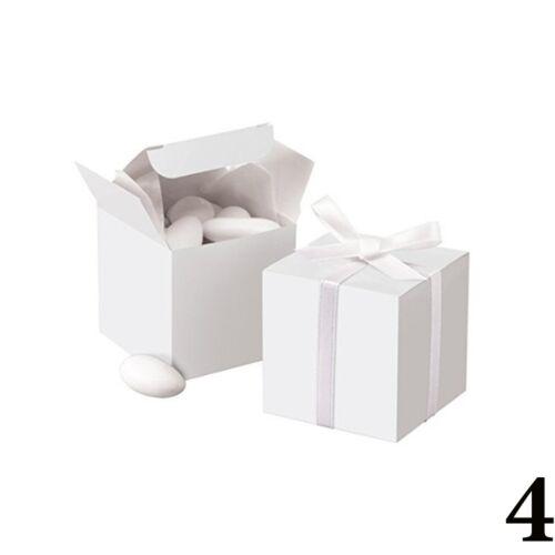 50x Kraftpapier quadratische Schokoladen Süßigkeit Hochzeit Kästen Bevorzugung~