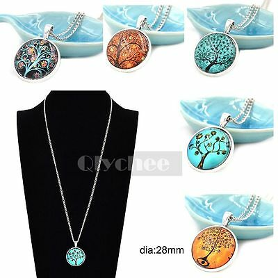 1X Glass Dome Tree of Life Pattern Necklace Pendant Charm Cabochon Silver Chain