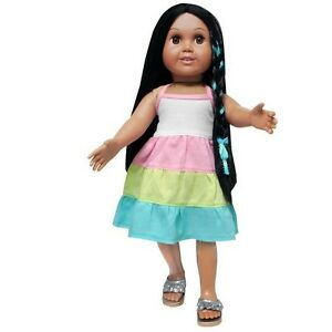 Doll-Clothes-18-Inch-Dress-Teal-Yellow-Pink-White-Fits-American-Girl-Dolls