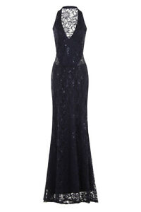 30a6a99662e Image is loading NAVY-LACE-SEQUIN-EMBELLISHED-HALTERNECK-MAXI-EVENING-PARTY-