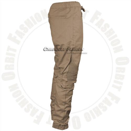 Mens Casual Jogger Pants Twill Biker Slim Fit Elastic Stretch Hip Hop Trousers