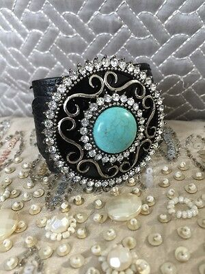 Black Real Leather & Turquoise Buckle Statement Bracelet Cuff Wholesale