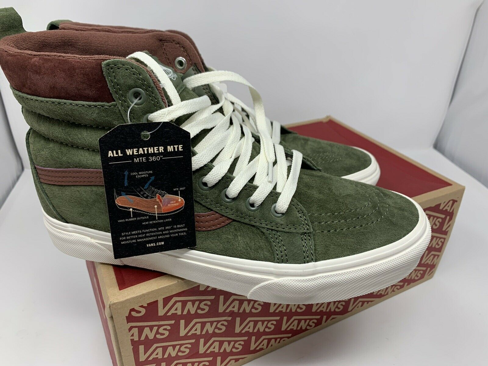 vans sk8 hi mte mens demitasse ballistic brown all weather suede boots size 8 for sale online ebay new vans sk8 hi mte all weather deep lichen green brown shoe men s size 10