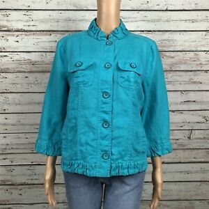 Chico's Light Casual Button Front Jacket 1 MEDIUM 8 Bright Blue Green Linen