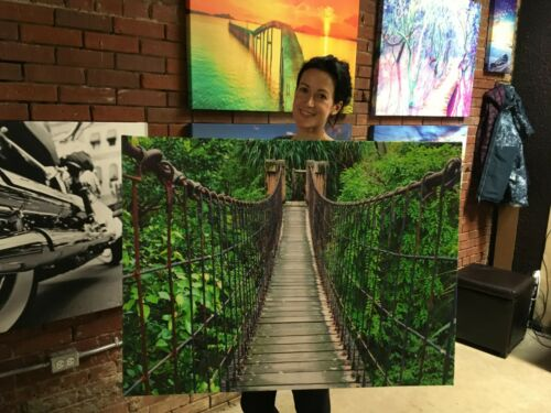 Costa Rica Jungle Rope Bridge Canvas Print Wall Art Decor Framed Real Canvas