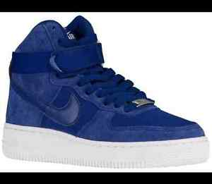 new product 9e764 57ca9 Details about NIKE AIR FORCE 1 HIGH (GS) 653998 400 DEEP ROYAL BLUE/SAIL  WHITE SUEDE/CANVAS