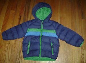 SNOZU-BOYS-HOODED-WINTER-DOWN-WATERFOWL-FEATHER-JACKET-COAT-size-3-3T-BLUE-GREEN
