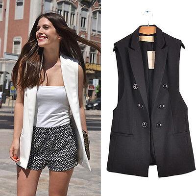 Women Vest Long Coat Lapel Sleeveless Thin Waistcoat Blazer Suit Jacket Cardigan