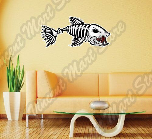 Dead Fish Bone Angry Scary Cartoon Funny Wall Sticker Interior Decor ...