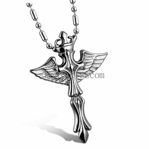 Silver stainless steel celtic cross angel wings pendant necklace image is loading silver stainless steel celtic cross angel wings pendant aloadofball Gallery