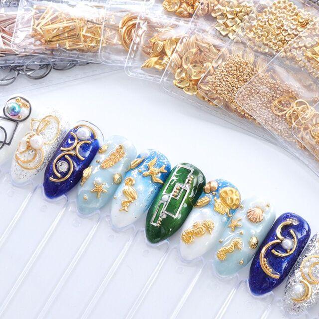 120Pcs Gold Silver Alloy Ocean Shellfish 3D Metallic Nail Art Decoration Mermaid