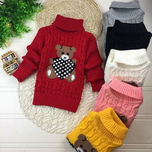 98048d550061 Winter Baby Girl Kids Toddler Bear Knitted Sweater Pullover Jumpers ...