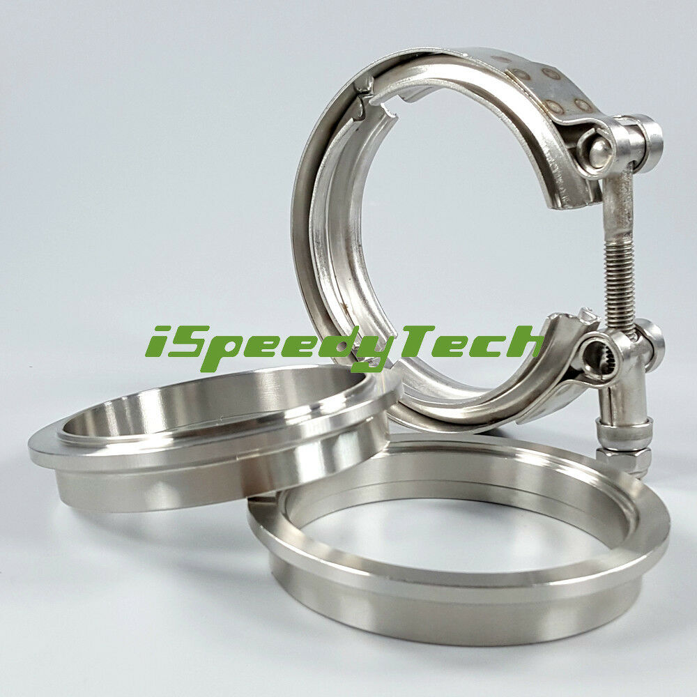 "3.0/"" 76mm Stainless Stainless Exhaust Down Pipe V-band Clamp and Flanges Kit New"