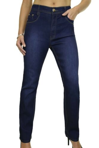 ICE Stretch Denim Jeans Faded Straight Legs Blue Size 14-24 1529-1