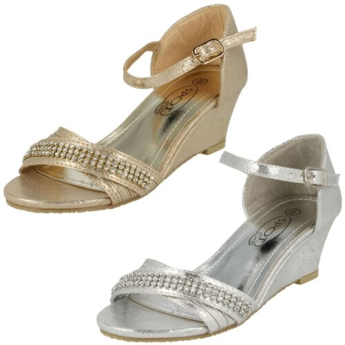 Girls Spot On H1073 Silver Or Gold Synthetic Peep Toe Wedge Party Sandals