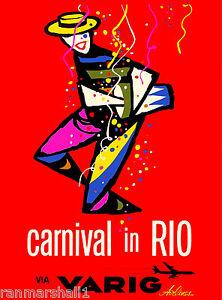 Sao Paulo Brazil South America Varig Vintage Travel Advertisement Poster Print