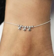 """9/"""" Sterling Silver Bead and Stars 1/"""" Ext Italy Adjustable Anklet"""