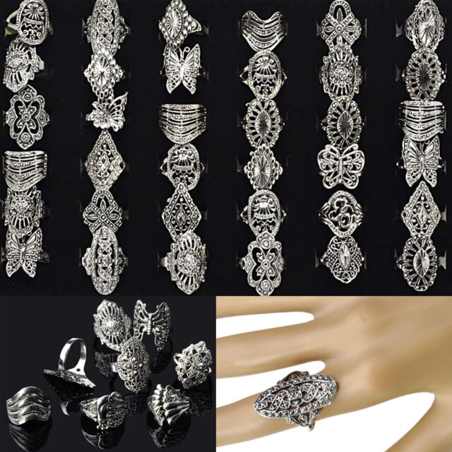 30pcs Wholesale Jewelry Lots Mixed Style Tibet Silver Vintage Rings Free Ship