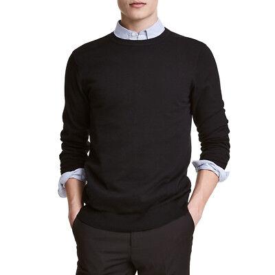Jersey hombre cuello redondo slim fit sudadera negro/gris/azul manga larga
