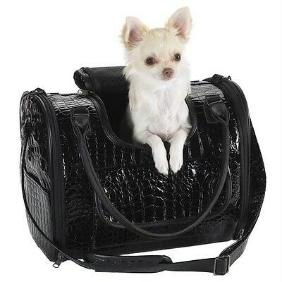 Zack & Zoey Croc Croco Pet Dog Carrier Travel Bag SM Black