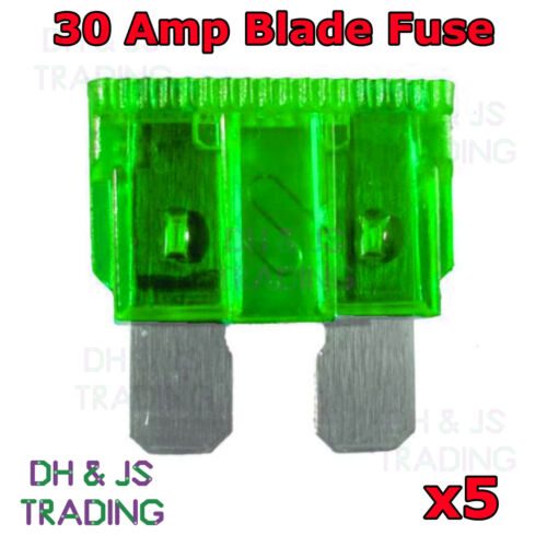 5x Green 30A 30 Amp Standard ATO Blade fuse for 12V 24V Car Van Bike Auto