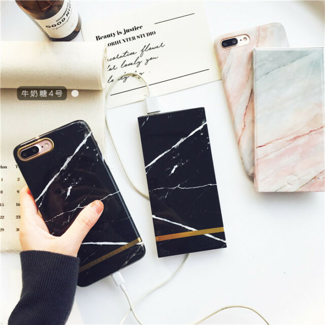 Power Bank 10000mah Stylish Marble Texture Fast Charger for Any Phone iPhone HTC
