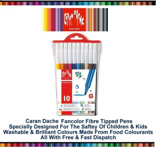 Caran Dache Fancolor Fibre Felt Tip Pens Water Soluble Art Child Safe Set Of 10