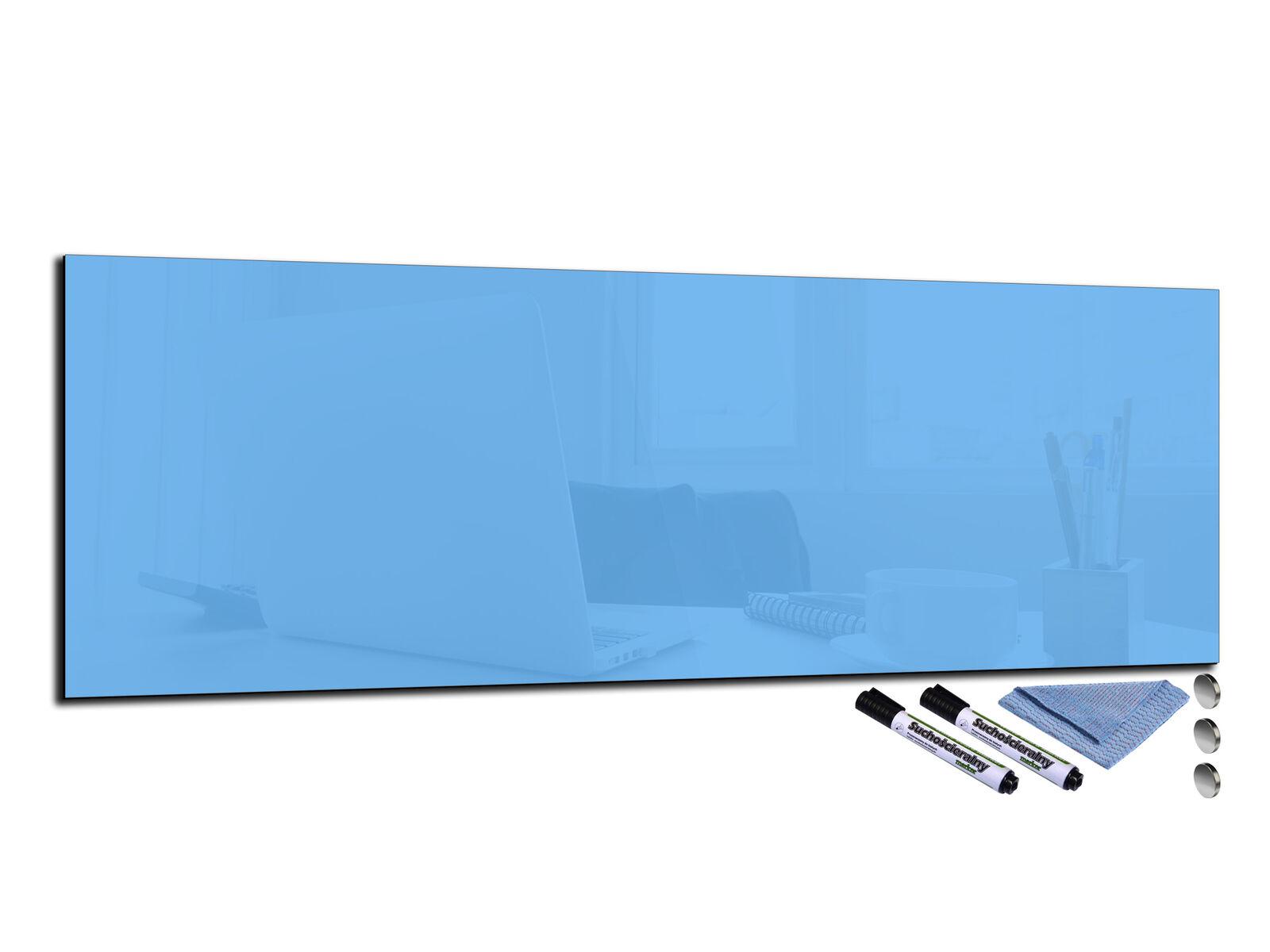 Verre Memo Board Magnétique résistant à la Chaleur Verre Trempé 120x40cm Bleu