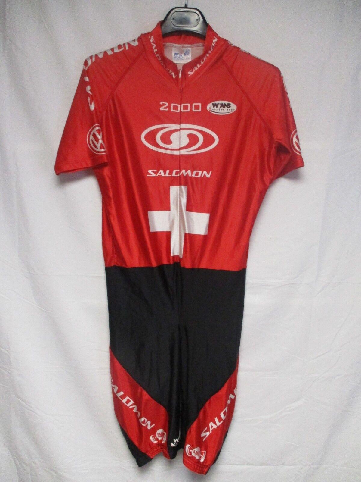Maillot combi cuissard cycliste SWITZERLAND SUISSE SALOMON 2000 shirt trikot L