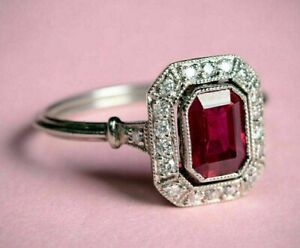 Vintage-Art-Deco-Engagement-Ring-2Ct-Red-Emerald-Cut-Ruby-14K-Solid-White-Gold