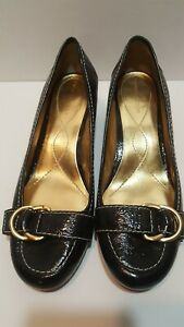 ENZO-ANGIOLINI-Womens-Black-Leather-Buckle-Slip-On-Shoes-2-inch-Heels-Size-8-5-M