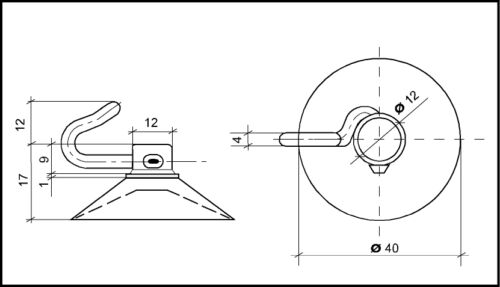 8St Saugnapf 40mm mit beweglichem Polycarbonat-Haken Saugnapf Haftsauger