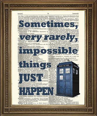 DOCTOR WHO TARDIS PRINT: Dictionary Art Wall hanging, Impossible Things Quote