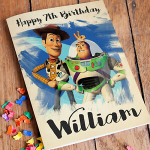 Image Is Loading TOY STORY Personalised Birthday Card FREE Shipping Boys