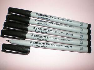5x-STAEDTLER-Overhead-Marker-Pen-Lumocolor-S-non-permanent-311-9-black-OHP
