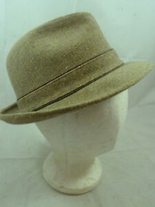 398f260690642 Vintage Mens Stetson Brown Camel Beige Wool Tweed Fedora Hat Derby ...