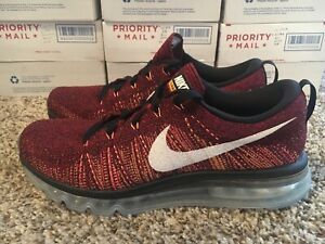 Details about Nike Flyknit Air Max Size 9.5 Running Shoes 620469 011 Black Red Bright Citrus