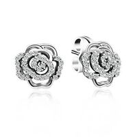 925 Solid Silver Sterling Ear Stud Zircon Earrings Lady Elegant Fashion Jewelry