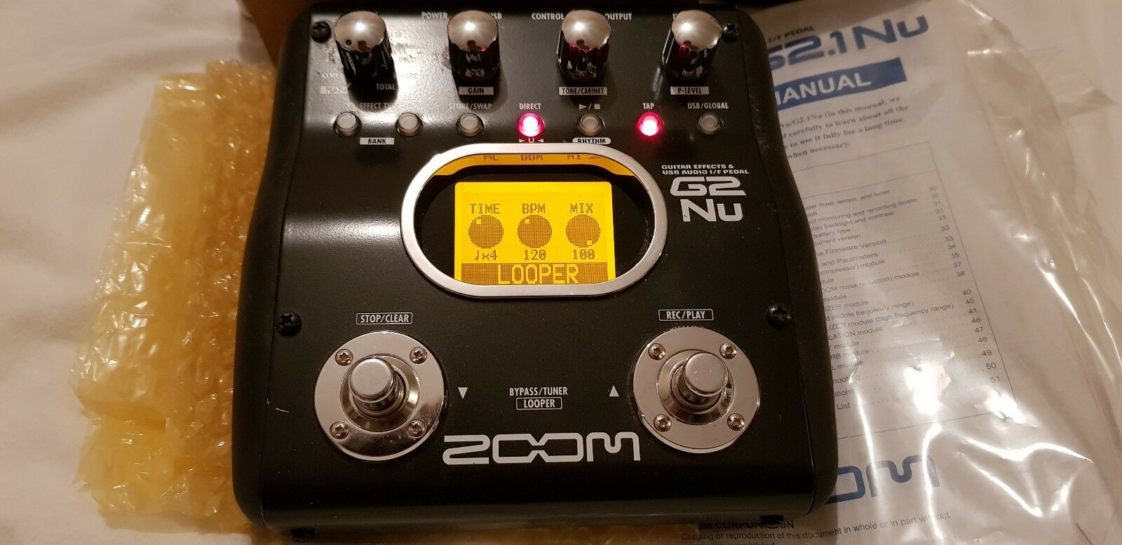 Zoom G2.nu Guitar Effects Pedal with inbuilt looper.  Boxed.